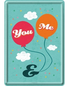 Postkaart metallist 10x14,5cm / You & Me
