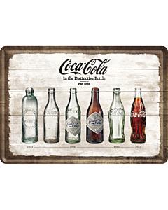 Postkaart metallist 10x14,5cm /  Coca-Cola Pudelite Ajalugu