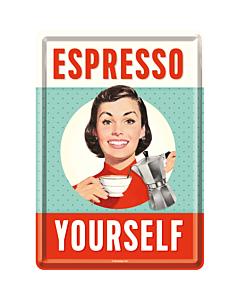 Postkaart metallist 10x14 cm / Espresso Yourself