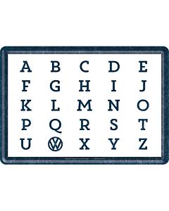 Postkaart metallist 10x14cm / VW ABC...