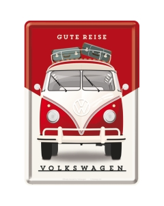 Postkaart metallist 10x14cm / VW Gute Reise
