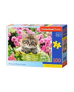 Pusle Kitten in Flower Garden / 100 premium / Castorland / LM