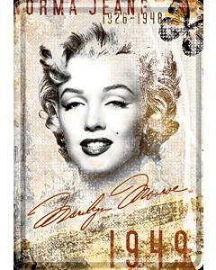 Postkaart metallist 10x14,5cm / Marilyn Monroe