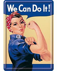 Postkaart metallist 10x14.5cm / We Can Do It!
