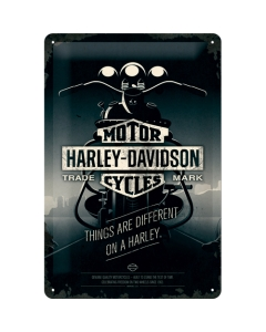 Metallplaat 20x30cm / Harley-Davidson Things are different on a Harley