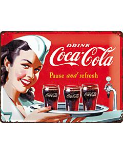 Metallplaat 30x40cm / Coca-Cola Pause and refresh