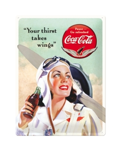 """Metallplaat 30x40cm / Coca-Cola """"Your Thirst Takes Wings"""""""