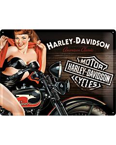 Metallplaat 30x40cm / Harley-Davidson Biker Babe