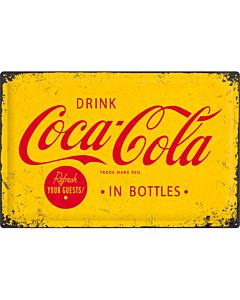 Metallplaat 40x60cm / Coca-Cola in bottles