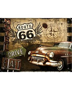 Металлический декоративный постер / Route 66 / 15x20см
