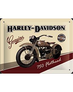 Металлический декоративный постер / Harley-Davidson 750 Flathead / 15x20см