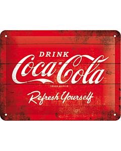 Metallplaat 15x20cm / Coca-Cola logo