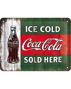 Metallplaat 15x20cm / Coca-Cola Ice cold sold here