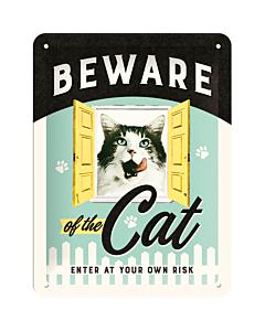 Metallplaat 15x20cm / Beware of the Cat