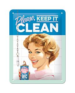 Metallplaat 15x20cm / Please, keep it clean