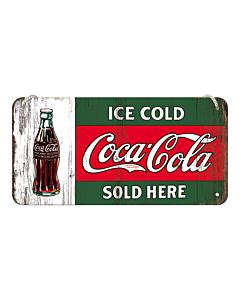 Metallplaat 10x20 cm / Coca-Cola Ice cold sold here