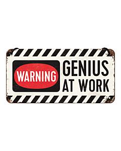 Metallplaat 10x20 cm / Warning - Genius at work