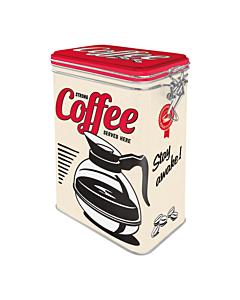 Жестяная коробка с зажимом / M / Strong coffee served here