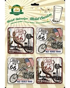 Подставки под бокалы / 4 шт / Route 66