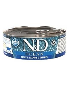 Farmina N&D OCEAN Cat Adult - trout, salmon & shrimps / 80g