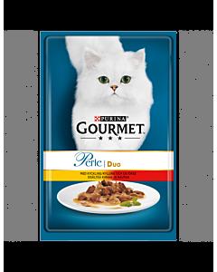 Gourmet Perle kiisueine, DUO kana/loomaliha / 6x85g