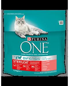 ONE Adult kuiv kassitoit, steriliseeritud kassidele, lõhe / 1.5kg