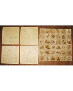 Loto - 36 piltidega puuklotsi + 4 plaati