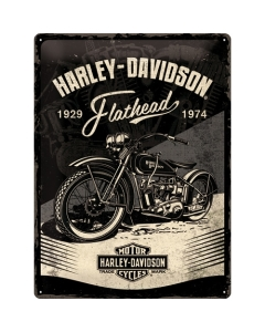 Metallplaat 30x40cm / Harley-Davidson - Flathead Black