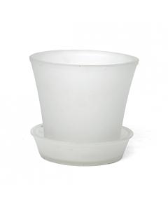 Orhideepott klaasist, matt valge / 15x12cm