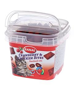 Krõbedad padjakesed kassidele jõhvika ja kanaga Sanal Cranberry&Chicken Bites / 75g