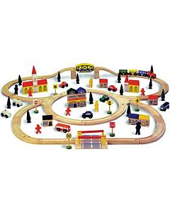 Rongiraudtee komplekt (100-osaline, puidust)
