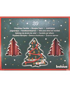 Свечи для ёлки Bolsius 20шт / 97x13 mm / красные