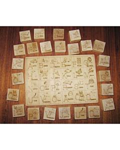 Puuklotsid + plaat piltidega + numbrid / 24tk