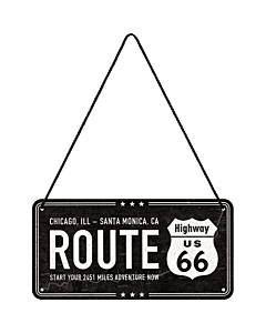 Metallplaat 10x20 cm / Route 66 Chicago, ILL - Santa Monica. CA
