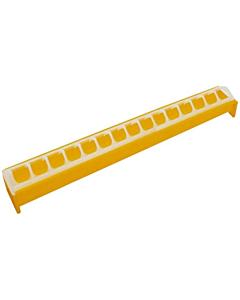 Söötur kodulindudele restiga / plastik / 50cm / kollane