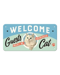 Metallplaat 10x20 cm / Welcome Guests must be approved Cat