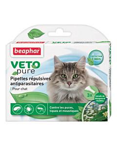 Beaphar Veto Pure Spot On täpilahus kassile puukide ja kirpude tõrjeks / 3x0,4ml