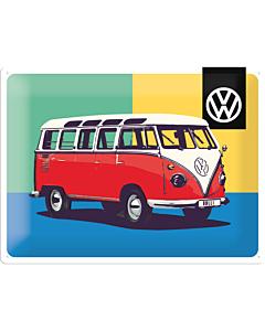 Metallplaat 30x40cm / VW Bulli Pop Art